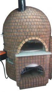 فر پیتزا گردان گرد کوچک با نما آجری